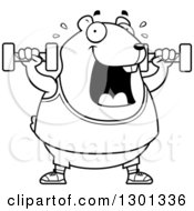 Outline Clipart Of A Cartoon Black And White Chubby Hamster Working Out With Dumbbells Royalty Free Lineart Vector Illustration by Cory Thoman
