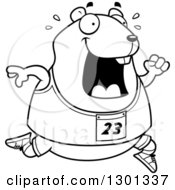 Outline Clipart Of A Cartoon Black And White Sweaty Chubby Hamster Running A Track And Field Race Royalty Free Lineart Vector Illustration