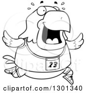 Outline Clipart Of A Cartoon Black And White Sweaty Chubby Bald Eagle Bird Running A Track And Field Race Royalty Free Lineart Vector Illustration by Cory Thoman