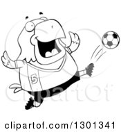 Outline Clipart Of A Cartoon Black And White Chubby Bald Eagle Bird Kicking A Soccer Ball Royalty Free Lineart Vector Illustration by Cory Thoman