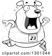 Outline Clipart Of A Cartoon Black And White Sweaty Chubby Dog Running A Track And Field Race Royalty Free Lineart Vector Illustration