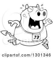 Outline Clipart Of A Cartoon Black And White Sweaty Chubby Devil Running A Track And Field Race Royalty Free Lineart Vector Illustration