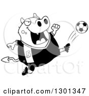 Outline Clipart Of A Cartoon Black And White Chubby Devil Kicking A Soccer Ball Royalty Free Lineart Vector Illustration
