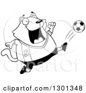 Outline Clipart Of A Cartoon Black And White Chubby Cat Kicking A Soccer Ball Royalty Free Lineart Vector Illustration