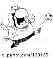 Outline Clipart Of A Cartoon Black And White Chubby Cardinal Bird Kicking A Soccer Ball Royalty Free Lineart Vector Illustration by Cory Thoman