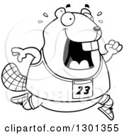 Outline Clipart Of A Cartoon Black And White Sweaty Chubby Beaver Running A Track And Field Race Royalty Free Lineart Vector Illustration by Cory Thoman