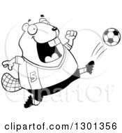 Outline Clipart Of A Cartoon Black And White Chubby Beaver Kicking A Soccer Ball Royalty Free Lineart Vector Illustration by Cory Thoman