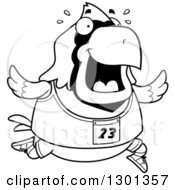 Outline Clipart Of A Cartoon Black And White Sweaty Chubby Cardinal Bird Running A Track And Field Race Royalty Free Lineart Vector Illustration
