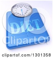 3d Blue Body Weight Scale With Diet Text On Shaded White