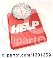 3d Red Body Weight Scale With Help Text On Shaded White