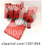3d Red Body Weight Scale With Need Help Text On Shaded White 2