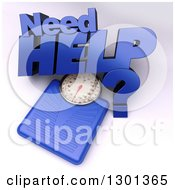 3d Blue Body Weight Scale With Need Help Text On Shaded White 2