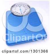 3d Blue Body Weight Scale On White