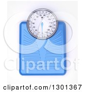 Clipart Of A 3d Aerial View Of A Blue Body Weight Scale On White Royalty Free Illustration by Frank Boston