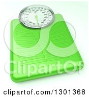 Clipart Of A 3d Lime Green Body Weight Scale On White Royalty Free Illustration by Frank Boston