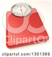 Clipart Of A 3d Red Body Weight Scale On White Royalty Free Illustration by Frank Boston