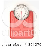 3d Aerial View Of A Red Body Weight Scale On White