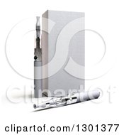 Clipart Of A 3d Box And Silver E Cigarettes On Shaded White Royalty Free Illustration by Frank Boston
