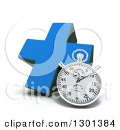 Clipart Of A 3d Blue Naturopathic Medicine Cross With A Stopwatch Royalty Free Illustration
