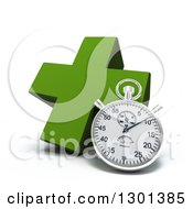 Clipart Of A 3d Green Naturopathic Medicine Cross With A Stopwatch Royalty Free Illustration
