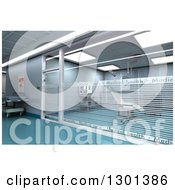 Clipart Of A 3d Modern Clinic Operating Room With Green Floors Royalty Free Illustration by Frank Boston