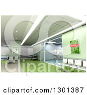 Clipart Of A 3d Modern Green Clinic Operating Room And Lobby Royalty Free Illustration by Frank Boston