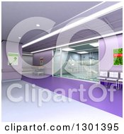 3d Purple Modern Clinic Operating Room