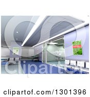 3d Purple Modern Clinic Operating Room And Lobby