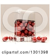 Clipart Of A 3d Clear Glass Container With Red Pearls Royalty Free Illustration