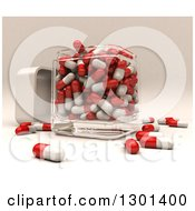 Clipart Of A 3d Glear Glass Container With Red And White Pills Royalty Free Illustration by Frank Boston