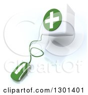 3d Green Computer Mouse Wired To A First Aid Medical Cross Donation Box On Shaded White