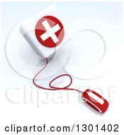 3d Red Computer Mouse Wired To A First Aid Medical Cross Donation Box On Shaded White 2