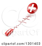Clipart Of A 3d Red Computer Mouse Wired To A First Aid Medical Cross On Shaded White Royalty Free Illustration