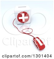 Clipart Of A 3d Red Computer Mouse Wired To A First Aid Medical Cross Donation Box On Shaded White Royalty Free Illustration