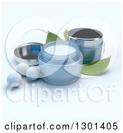 3d Blue Containers Of Facial Cream With Pearls And Mint Leaves