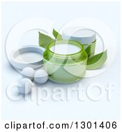 Clipart Of 3d Green Containers Of Facial Cream With Pearls And Mint Leaves Royalty Free Illustration by Frank Boston