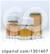 3d Clear Glass Containers With Amber Liquid