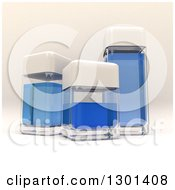 3d Clear Glass Containers With Blue Liquid