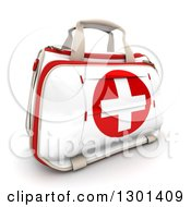Clipart Of A 3d First Aid Medical Kit On Shaaded White Royalty Free Illustration by Frank Boston