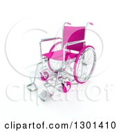 Clipart Of A 3d Pink Wheelchair On Shaded White Royalty Free Illustration