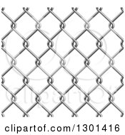 Clipart Of A Seamless 3d Grayscale Chain Link Fence Background On White Royalty Free Vector Illustration
