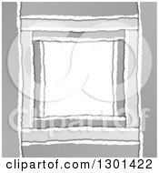 Clipart Of A Grayscale Torn Paper Frame Background With White Text Space Royalty Free Vector Illustration