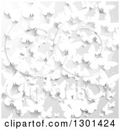 Clipart Of A 3d Grayscale Background Of Paper Butterflies Royalty Free Vector Illustration
