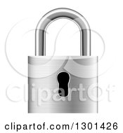 Clipart Of A 3d Silver Metal Padlock Royalty Free Vector Illustration