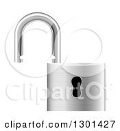 Clipart Of A 3d Open Silver Metal Padlock Royalty Free Vector Illustration by vectorace