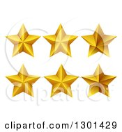 Clipart Of 3d Stylized Gold Stars On White Royalty Free Vector Illustration