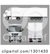 3d White Cargo Big Rig Truck At Different Angles On Gray