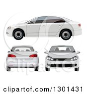 3d White Sedan Car At Different Views