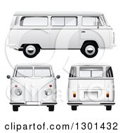 Clipart Of 3d White VW Kombi Vans At Different Views On White Royalty Free Vector Illustration
