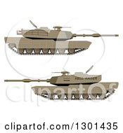 Clipart Of 3d WW2 Military Tanks Royalty Free Vector Illustration by vectorace